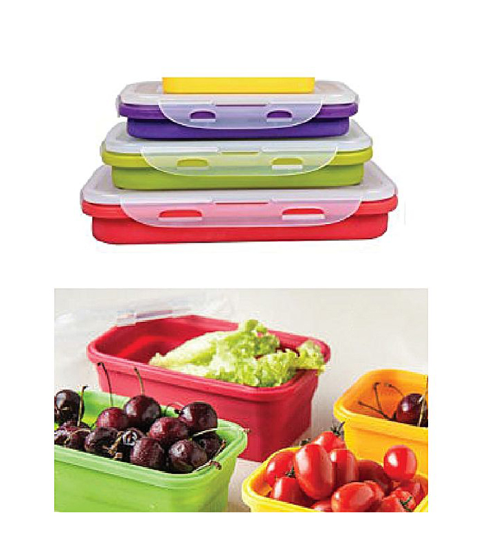 29aeb98f8184 Pack Of 3 - Portable Folding Silicone Lunch Box