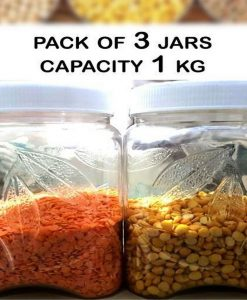 Pack Of 3 - Plastic Storage Jars Capacity 1000 Ml - Leaf Design