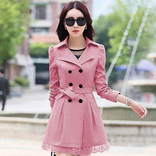 Women Lace Trench Coat Rose