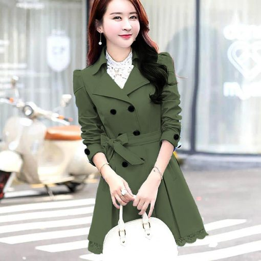 Women Lace Trench Coat Green
