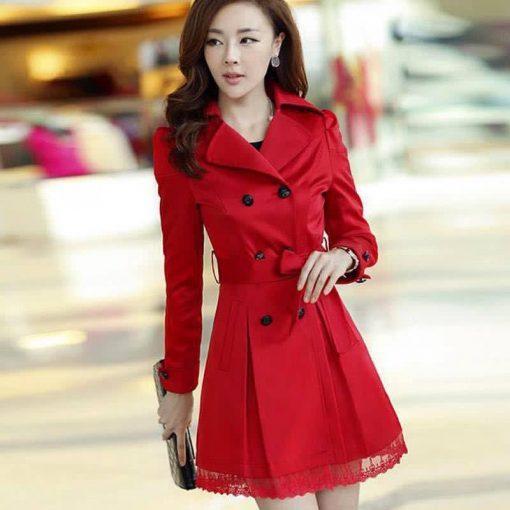 Women Lace Trench Coat Red