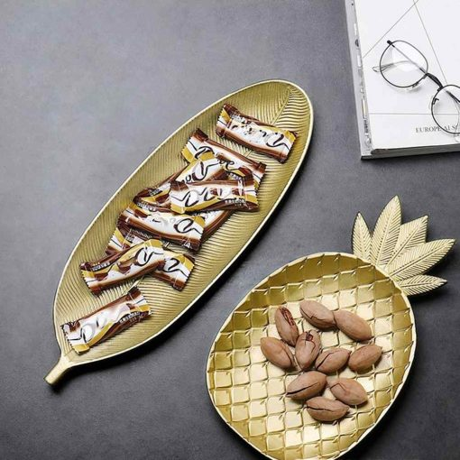 Pineapple Leaf Style Golden Serving Tray