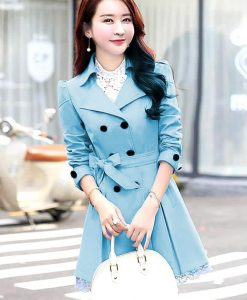 Women Lace Trench Coat Blue